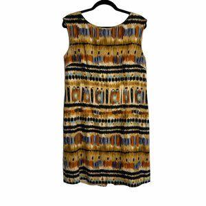 Tahari Linen Blend Abstract Earth Tone Shift Dress